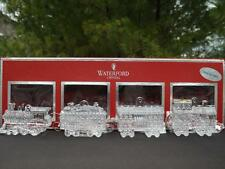 MIB Waterford Crystal 4 Piece Christmas Ornament Train Set w Enhancers & Pouches