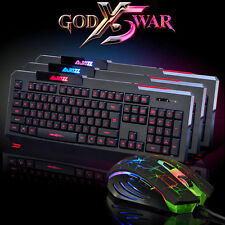 LED colorato retroilluminato illuminato USB Gaming Keyboard+Mouse Kit Wired f/PC