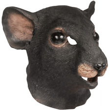 ADULT GIANT MOUSE RAT ANIMAL COSTUME MASK LATEX BLACK GREY