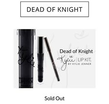 Kylie Cosmetics DEAD OF KNIGHT NIB Matte Black Lip Kit Set Kylie Jenner w/ card