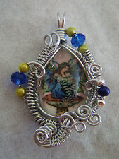 Silver Wire Wrapped Glass Cameo Blue/Gold Fairy on a Mushroom Pendant Charm #C9