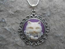 KITTY CAT CAMEO NECKLACE PENDANT (cream/plum/purple/) 925 PLATE CHAIN--NICE !!!