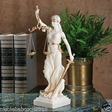 "13"" ANCIENT GREEK GODDESS OF JUSTICE BLIND FAITH BONDED MARBLE SCULPTURE"