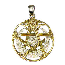 Sterling Silver Moon Pentacle Wicca Pentagram Pendant Gold Plated Dryad Design