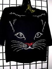 XL 18/20 MULTI COLOR CAT FACE ACFA ART DESIGN TERAZZO WOMENS KNIT SWEATER OPTION