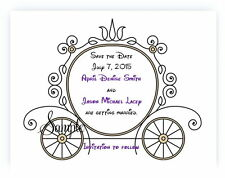 100 Personalized Custom Cinderella Carriage Bridal Wedding Save The Date Cards