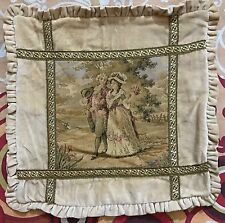 "Antique French Tapestry, Cushions Love Scene,  15"" By 15"""