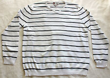 NEW ILIAC GOLF Mens Long Sleeve V-Neck STRIPED Sweater - Pure White / Navy - XXL