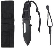 "BLACK Large 8.5"" Paracord Survival Knife W/Fire Starter & Pouch 36742 #1"