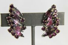 VINTAGE D&E JULIANA FOR MADELEINE RHINESTONE CLIP EARRINGS AMETHYST GIVRE GLASS