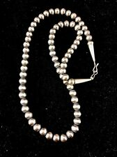 "Native American Navajo Pearls 5mm Sterling Silver Bead Necklace 20"" Sale"