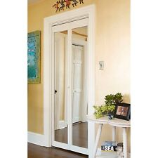 907 Traditional 36-Inch-Wide Unfinished Natural-Pine Bifold Mirror Doors