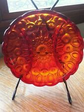 "Amberina Moon & Stars Divided Dish 8 1/4"" Diam Red Yellow Glassware LE Smith"