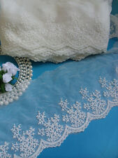 Antique Style Off-White Embroidered Flowers Net Lace Trim- Per Yard-T659