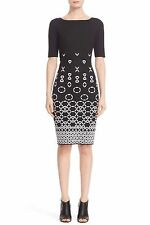 St. John Collection BLACK & WHITE Caviar Bianco Graphic Knit Dress SIZE 12 NeW
