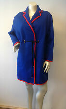 Missoni M Fabulous royal blue with red trim quilted belted coat Sz 4 Italy