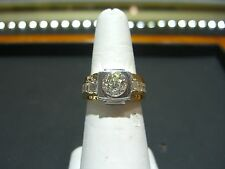 VINTAGE MEN'S FINE DIAMOND 3.07 CARATS RING ESTATE 14 KARAT TWO TONE SIZE 10!!!
