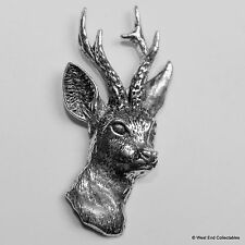 Roe Deer Stag Head Pewter Pin Brooch - British Artisan Signed Badge - Hunting