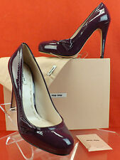 NIB MIU MIU PRADA PURPLE PLUM PATENT LEATHER BOW CLASSICS PUMPS 41 10 $600