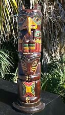 """GORGEOUS HANDCARVED WOOD 20"""" TALL X 5 INCH WIDE EXQUISITE TOTEM POLE !!!"""