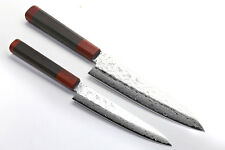 NSW 46 layers Hammered Damascus NSW Petty + Gyuto SET Shitan Handle YOSHIHIRO