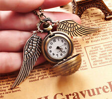 Pendant Necklace Steampunk Quidditch Wings Harry Potter Snitch Pocket Watch EN3