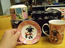 WALLACE & GROMIT- SHAUN THE SHEEP MUG & SAUCER  +  MONEY BOX (now rare) GIFT SET