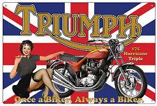 TRIUMPH MOTORCYCLE X75 HURRICANE  TRIPLE TIN SIGN TRIUMPH TIN  SIGN  30 X 45 cm