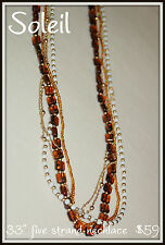 (E) New NIB Premier Designs Jewelry Soleil brown cream gold bead long Necklace