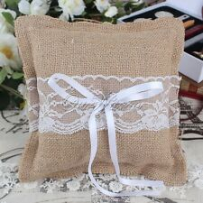 "US Burlap Lace Ribbon Rustic Ring Pillow Bearer Cushion 8"" For Wedding Ceremony"