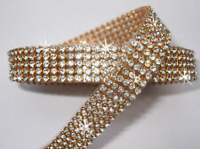 3mm CHATON 5strip CLR GLD iron-on CRYSTAL DIAMANTE REEL CUSTOM BURLESQUE CORSET