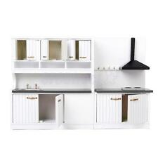 12th Dollhouse Miniature Modern Kitchen Furniture Cabinet Cook Stove Sink White