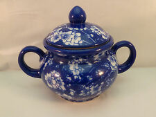 April Cornell Sugar Bowl with Lid China Solid Blue White Flowers