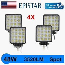 4PCS 48W SPOT LED WORK LIGHT TRACTOR SQUARE OFFROAD FORD SUV 24W TRUCK JEEP BOAT