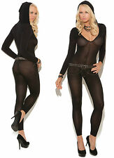 Black Long Sleeve Hooded Bodystocking, Elegant Moments, Sexy Lingerie,Catsuit