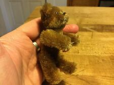 "RARE ANTIQUE MINIATURE 3.5"" BROWN MOHAIR SCHUCO TEDDY BEAR SO CUTE"