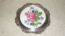 ANTIQUE WALLACE BAROQUE SILVER ORNATE PORCELAIN ROSES FLORAL DESIGN VANITY TRAY