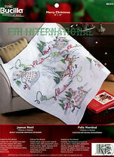 Bucilla Stamped Cross Stitch Merry Xmas Lap Quilt kit #85313, Sleigh, Victorian