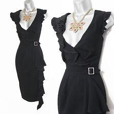 Karen Millen Black Thick Jersey V-Neck Front Frill Decorated Midi Dress UK 12