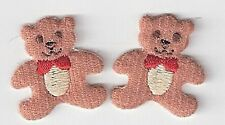 Lot Two Cute Teddy Bear Embroidery Patch Applique