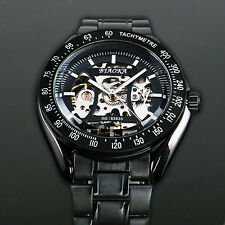 Stainless Steel Band Mechanical Watch Men's Black Skeleton Wrist Strap Movement