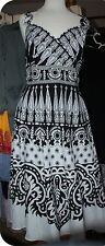 DESIGNER ADRIANNA PAPELL BLACK WHITE COTTEN SUMMER SLEEVELESS DRESS SIZE 10