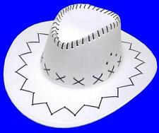 WHITE COLOR HEAVY SOFT IMITATION LEATHER COWBOY HAT adult size men womens NEW