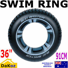 BLACK INFLATABLE DONUT LILO AIR MAT BED POOL LAKE FLOAT SWIMMING TUBE RING TYRE
