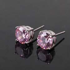 Beautiful 18ct White Gold Filled Pink Crystal Stud Earrings simulated diamond