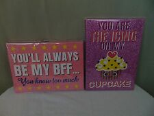 """2 Girly Glitter Wall Plaque Signs 10 X 7 """"BFF"""" & """"Icing On My Cupcake"""" #1231"""