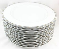 ART DECO SET 12 LIMOGES DINNER PLATES DESHOULIERES AVENUE MONTAIGNE GREY GOLD