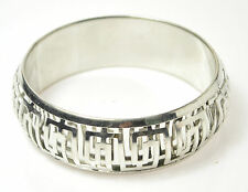 SILVER COLOURED METAL AZTEC LADIES WOMENS BANGLE BRACELET