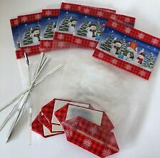 Pack of 6 CHRISTMAS cellophane treat bags with card bottom XMAS  festive SNOWMAN