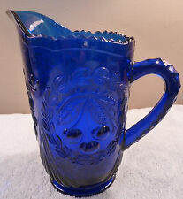 """Vintage Westmoreland 8"""" cobalt glass sculptured cherries pitcher"""